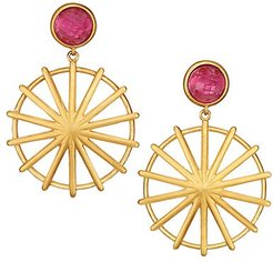Maiko 22K Goldplated & Cranberry Quartz Double-Drop Umbrella Earrings - Yellow Goldtone