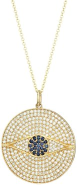 14K Yellow Gold, Diamond Pavé & Sapphire Evil Eye Medallion Necklace - Yellow Gold