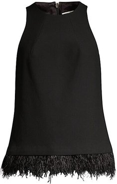 Easter Luxe Eero Feather-Trimmed Top - Black - Size XL