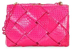 Small Woven Elaphe Frame Clutch - Pink