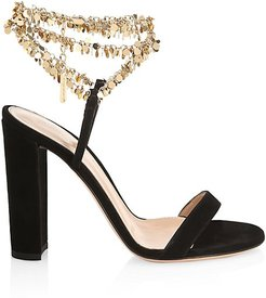 Beaded Suede Sandals - Black - Size 35 (5)