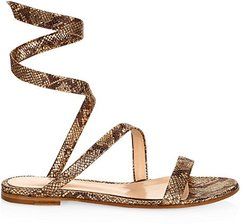 Dallas Snakeskin-Embossed Metallic Leather Flat Sandals - Mekong - Size 36.5 (6.5)