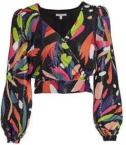 Kendall Sequin Puff-Sleeve Top - Abstract Floral - Size 0