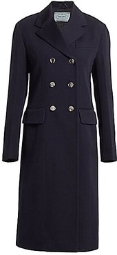 Double Breasted Wool Coat - Blue - Size 40 (4)