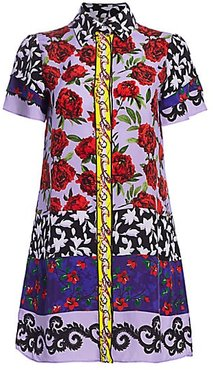 Jem Mixed Print Shirt Dress - Floral Affair Border - Size XS