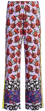 Elba Full-Length Printed Pants - Floral Affair Border - Size Medium