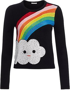 Friends With You x Alice + Olivia Connie Embellished Rainbow Pullover - Black Multi - Size XS