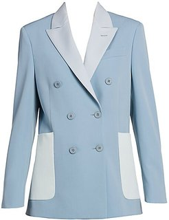 Colorblock Double-Breasted Stretch-Wool Blazer - Mineral Blue - Size 40 (6)