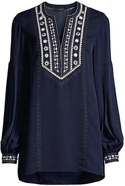 Sandi Embroidered Puff-Sleeve Silk Blouse - Midnight Blue - Size XS