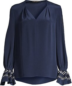 Ghada Embroidered Silk Blouse - Midnight Blue - Size XS