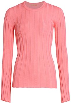 Sherbert Ribbed Knit Pullover - Coral - Size Large