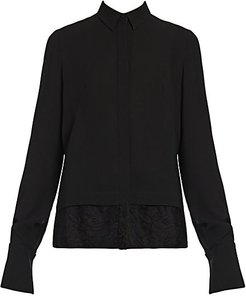 Lace Hem Silk Blouse - Black - Size 44 (8)