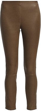 Simone Cropped Leather Pants - Olive - Size 0