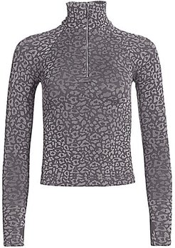 Leopard Print Zip Turtleneck Top - Carbon Silver - Size XS/Small