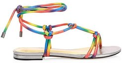 Rebecca Knotted Rainbow Flat Leather Sandals - Size 5