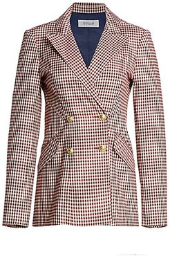 Rodeo Gingham Double-Breasted Blazer - Pink White - Size 10