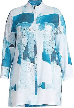 Abstract Crepe De Chine Blouse - White Multi - Size 2X (18-20)