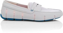 Mesh Cutout Penny Loafers - Grey - Size 10