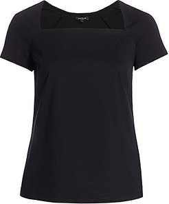 Corinne Square-Neck Top - Black - Size 2X (18-20)