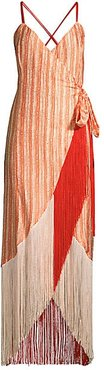 Fringe Hem Wrap Dress - Red Dots - Size 6