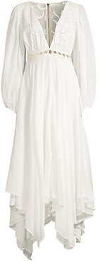 Tortugas Puff-Sleeve Cotton Eyelet Maxi Dress - White - Size 8