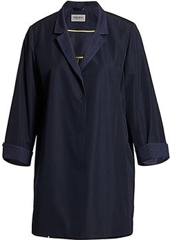 Contrast Knit Trench Coat - Navy - Size 22 W