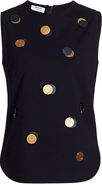 Sequin Dot Jersey Sleeveless Top - Navy - Size 10