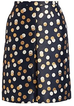 Gold Leaf Dot Front Pleat Skirt - Navy Gold Sake - Size 4