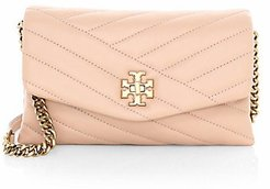 Kira Chevron Leather Wallet-On-Chain - Devon Sand