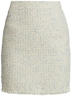 Fringe-Trimmed Cotton Tweed Skirt - Cream Sky - Size 14