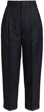 Wool Pinstripe Cropped Trousers - Ink Navy - Size 40 (8)