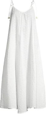 Embroidered Voile Tie Strap Cover-Up Dress - Embroidered Voile - Size Small