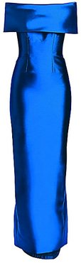 Off-The-Shoulder Silk & Wool Gown - Blue - Size 6