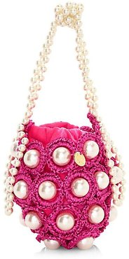 Mini Hana Woven Imitation Pearl Top Handle Bag - Pink