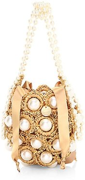 Mini Hana Woven Imitation Pearl Top Handle Bag - Gold