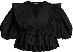 Elodie Puff-Sleeve Ruffle Cotton Top - Black - Size Large