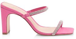 Salwa Square-Toe Embellished Suede Mules - Vibrant Pink - Size 6.5