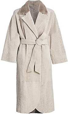 Reversible Shearling Belted Mink Fur-Collar Coat - Cream - Size XL