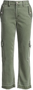 Bond Girl Embellished Cropped Cargo Pants - Military Green - Size 4