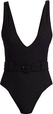 Seaton Belted One-Piece Swimsuit - Black - Size Small