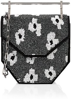 x Pura Utz Mini Amor Fati Floral Beaded Top Handle Bag - Black