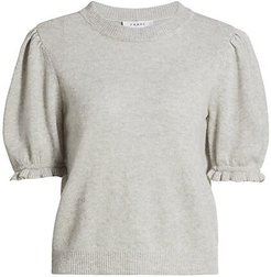 Shirred Short-Sleeve Sweater - Antarctica Heather - Size Small