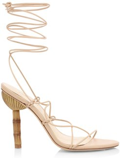 Soleil Ankle-Wrap Leather Sandals - Sand - Size 36 (6)