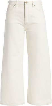 Serena High-Rise A-Line Crop Wide-Leg Jeans - Field Natural White - Size 25 (2)