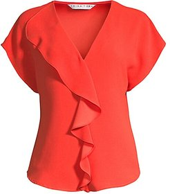 Venice Ruffle Blouse - Red Hot - Size Small