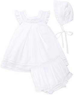 Baby Girl's 3-Piece Lace Hat, Dress & Bloomers Set - White Months