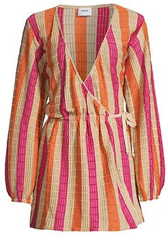 Jacquelyn Wrap Dress Cover-Up - Gold Pink - Size Medium