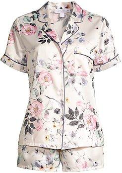 Winding Road 2-Piece Printed Pajama Set - Pink Floral - Size Small
