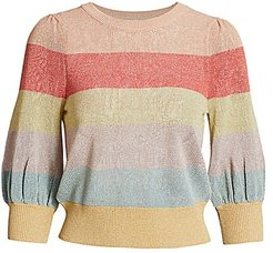 Colorblock Stripe Knit Top - Coral Multi - Size XS