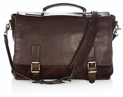 Logan Top-Handle Soft Leather Briefcase - Dark Brown